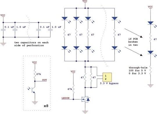 qtr-8a 8′li kızılötesi sensör - analog - pl-960 devre şeması